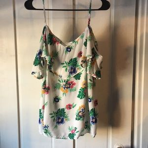 Old Navy Tropical Print Cold Shoulder Top NWT